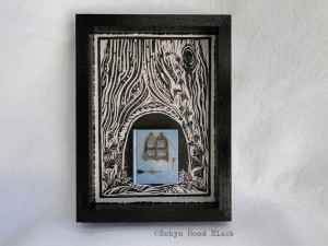 blue fairy door with window front with c