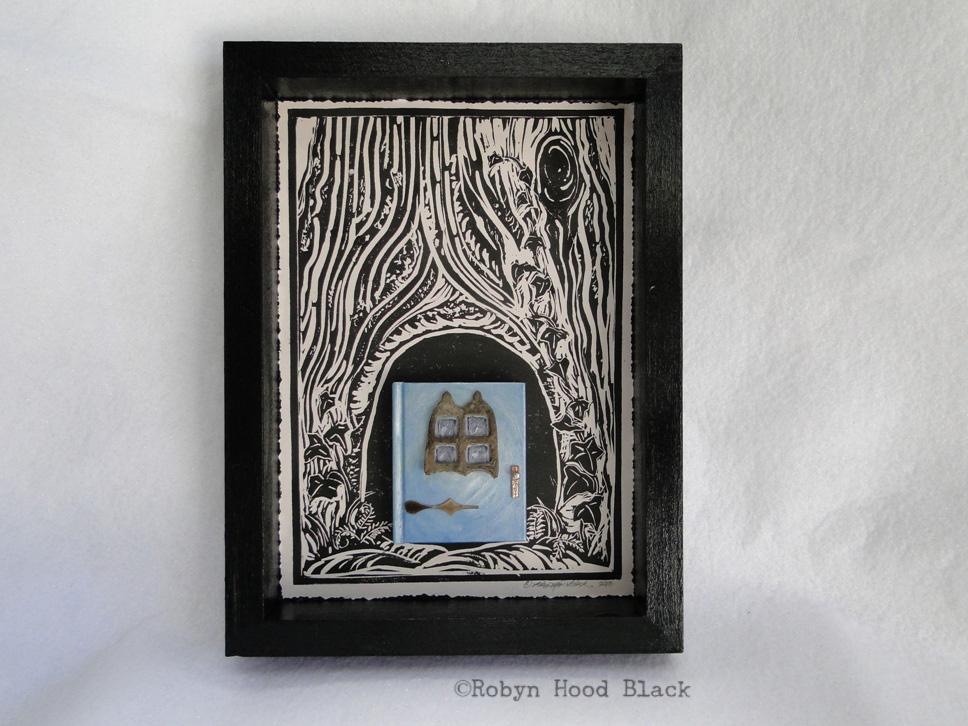 blue fairy door with window front with c
