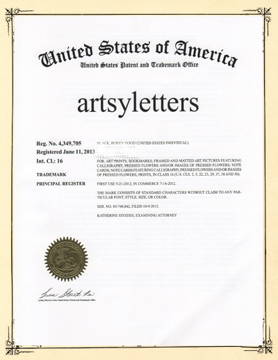 certif fancy background with trademark letter