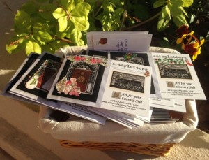 basket of artsyletters postcards christmas mailing small
