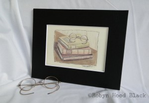 print - glasses and books RHB