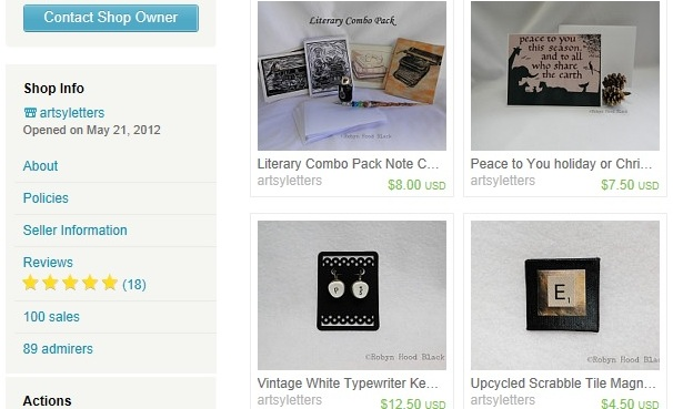 screen shot at 100 etsy sales crop