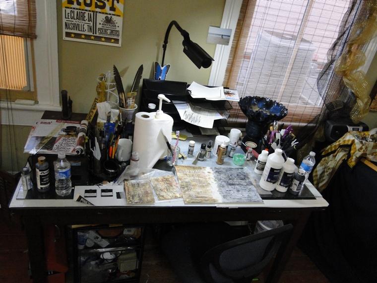 messy studio table - artsyletters