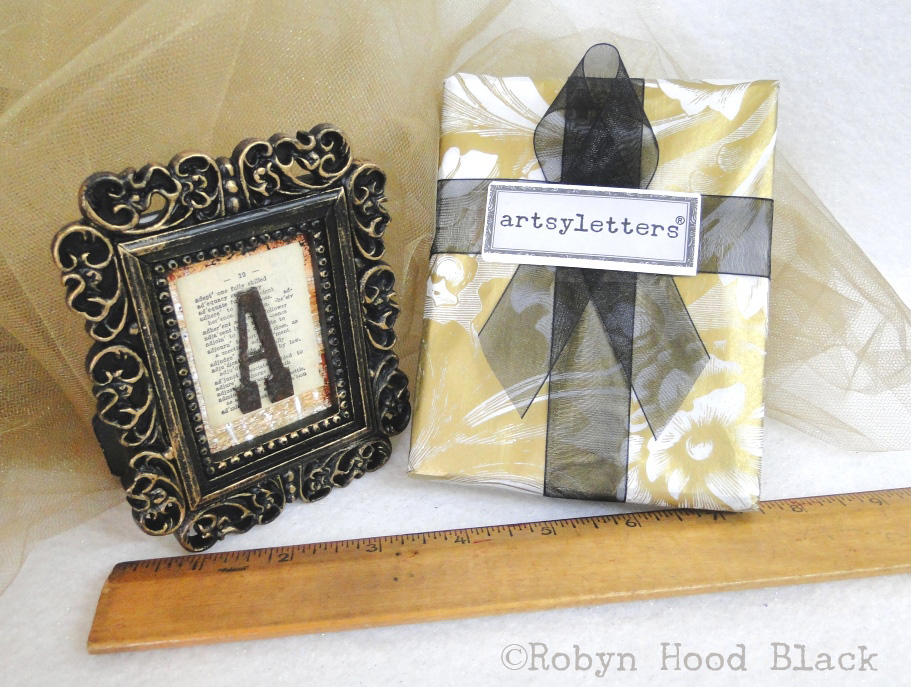 mini framed rustic letters gift wrap with c