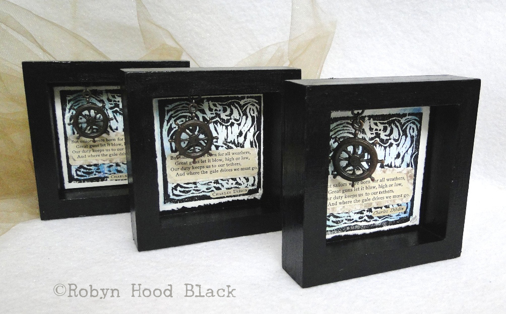 three sailor shadow boxes c