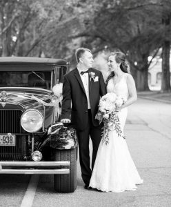 The bride and groom left the celebration in style... in a 1928 Hudson!