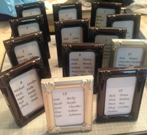 small framed table names p