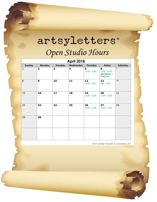 Open most Thursdays and Fridays 11:30 to 4:00; other hours by whim and appointment.  (Please check above Calendar to confirm dates we're open.)        My Etsy shop is open 24/7!