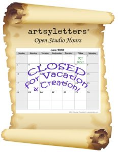 CLOSED JUNE 2018 artsyletters hours old paper add calendar page red